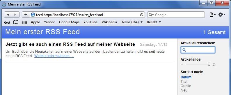 Screenshot RSS Feed